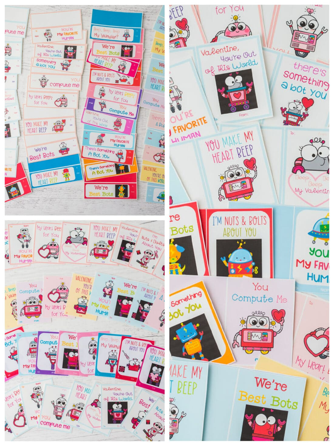 collage of free valentine printables