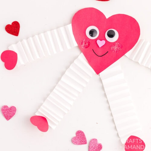 paper valentine heart man with accordion arms
