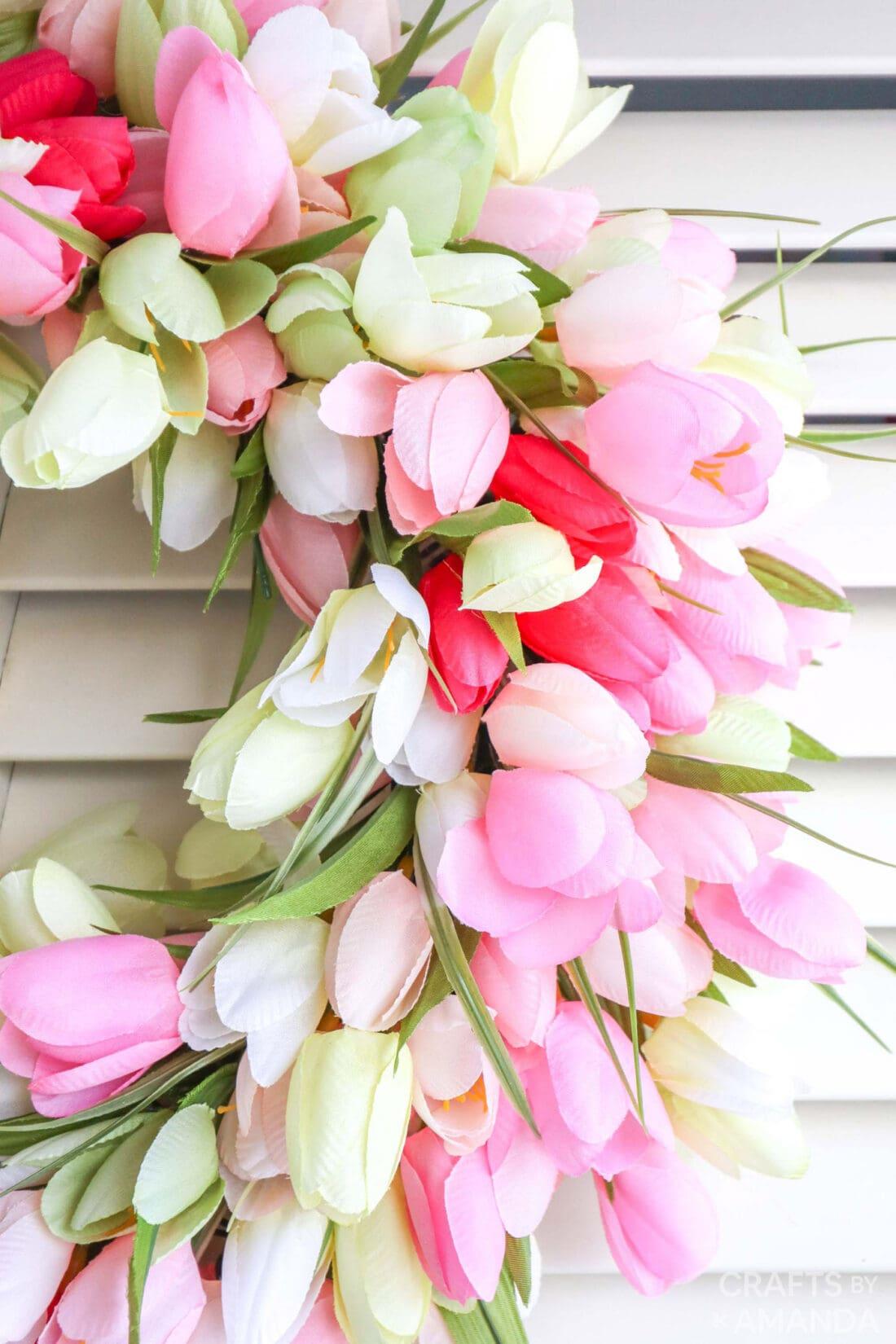 close up of tulip wreath