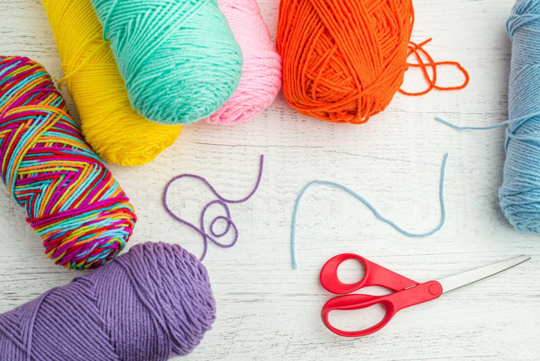 skeins of yarn and scissors