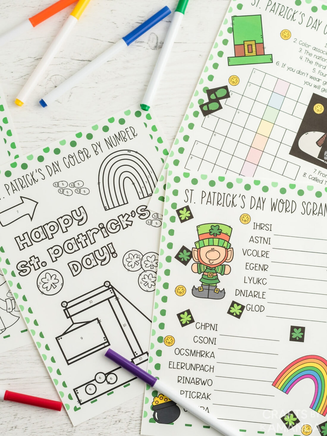 st patricks day printables on a table