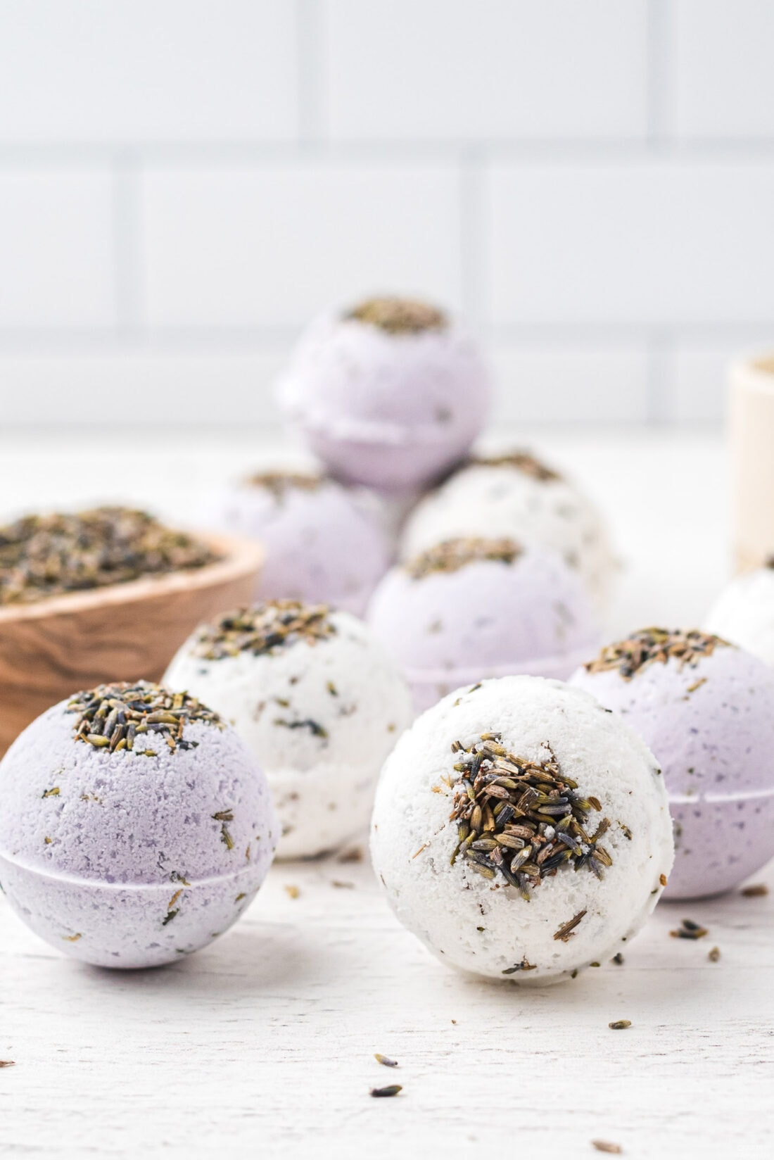lavender bath bombs on the counter