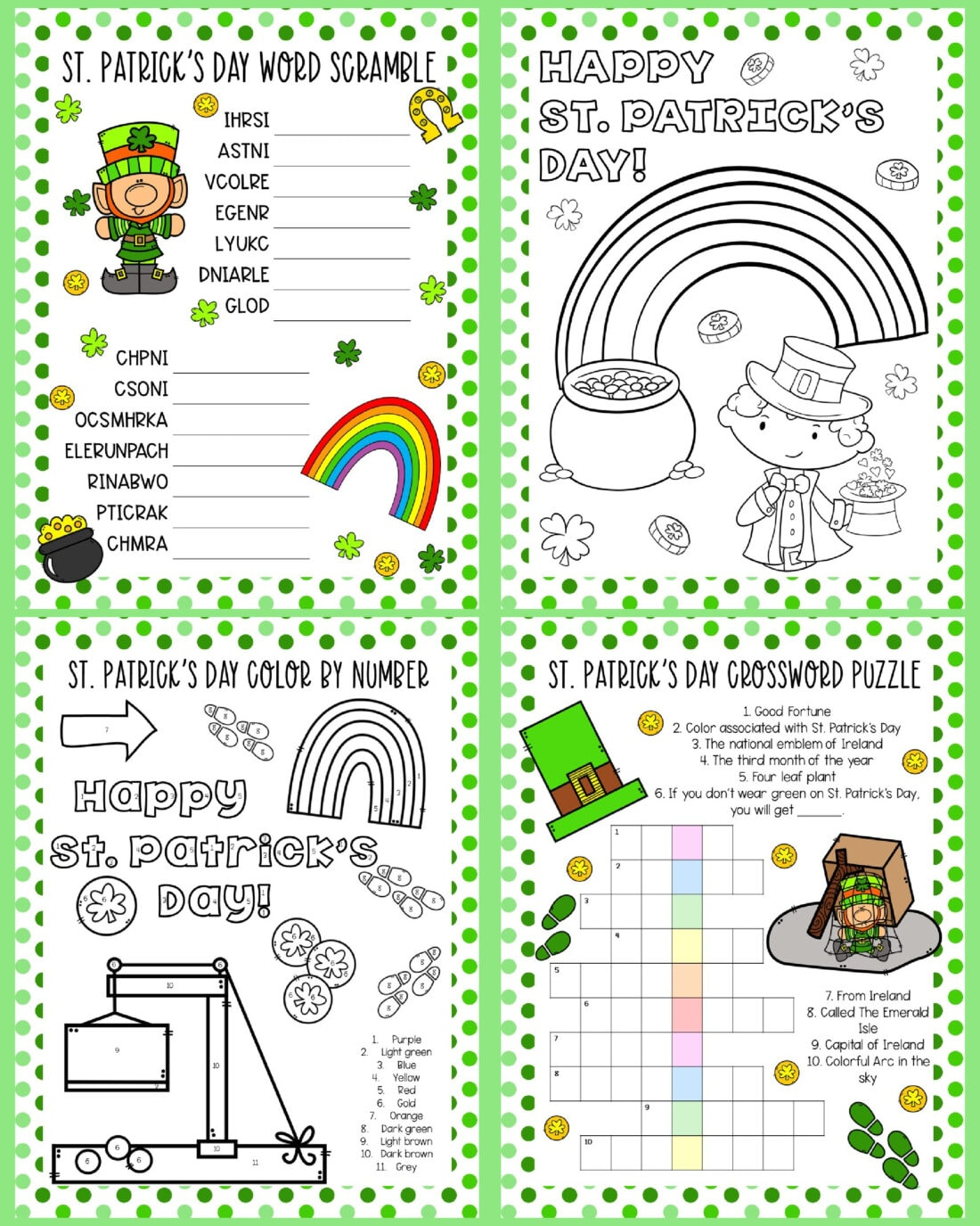4 st patricks day printable activity sheets