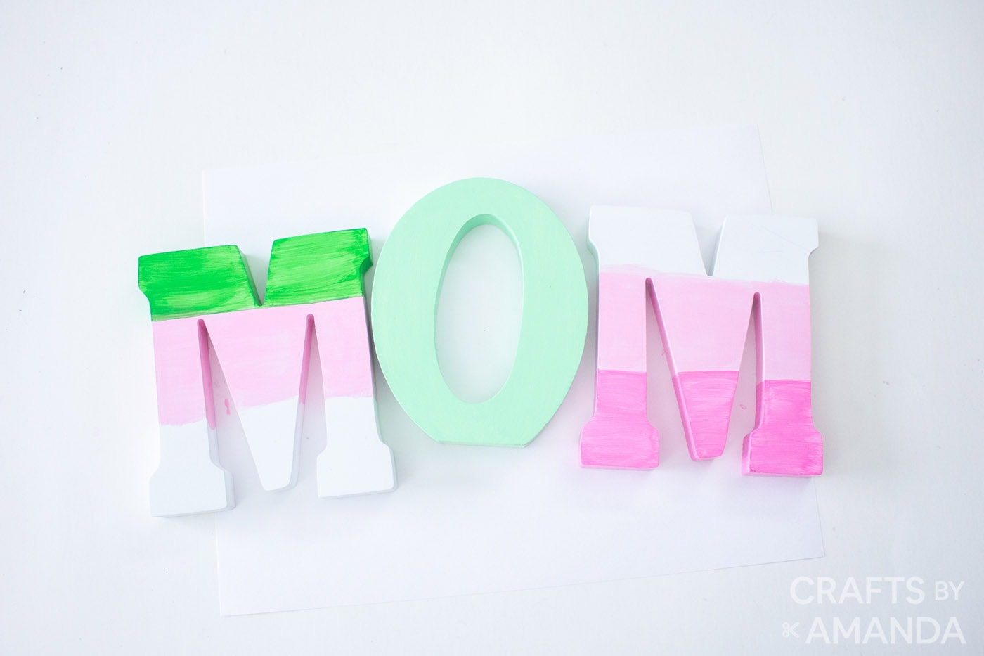 Painted wooden letters spelling Mom