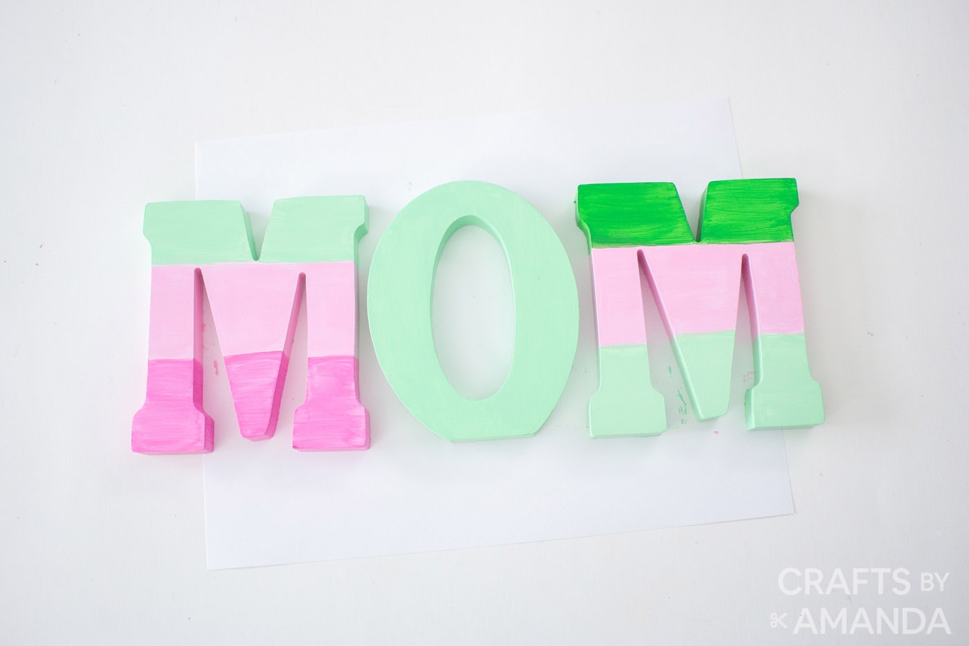 painted wooden letters that spell Mom