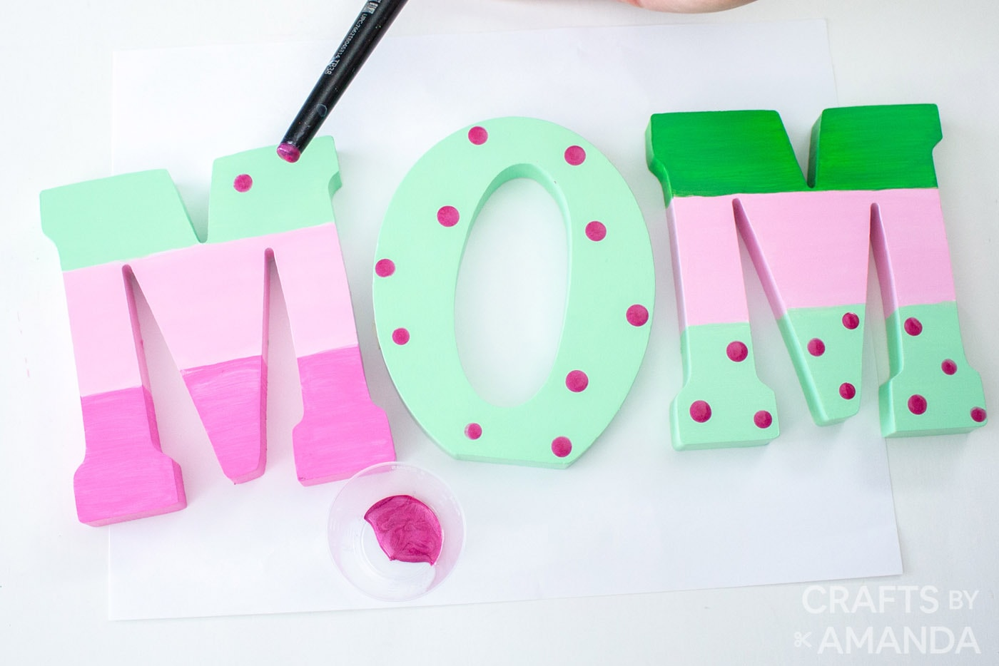Polka dots painted onto wooden letters