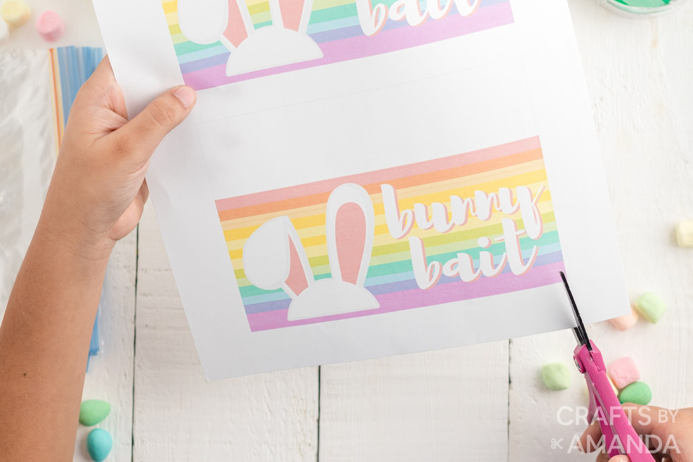 child cutting out bunny bait printable bag topper