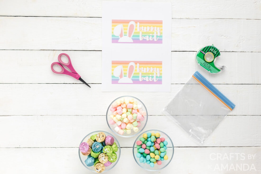 supplies for making treat bags with bunny bait printables