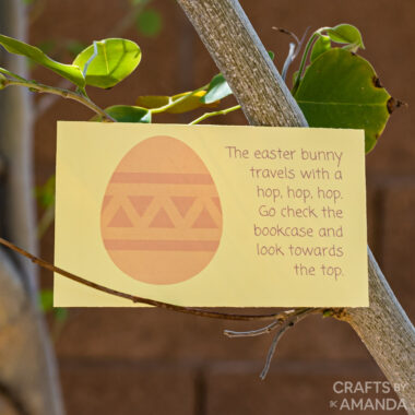 easter scavenger hunt card in a tree