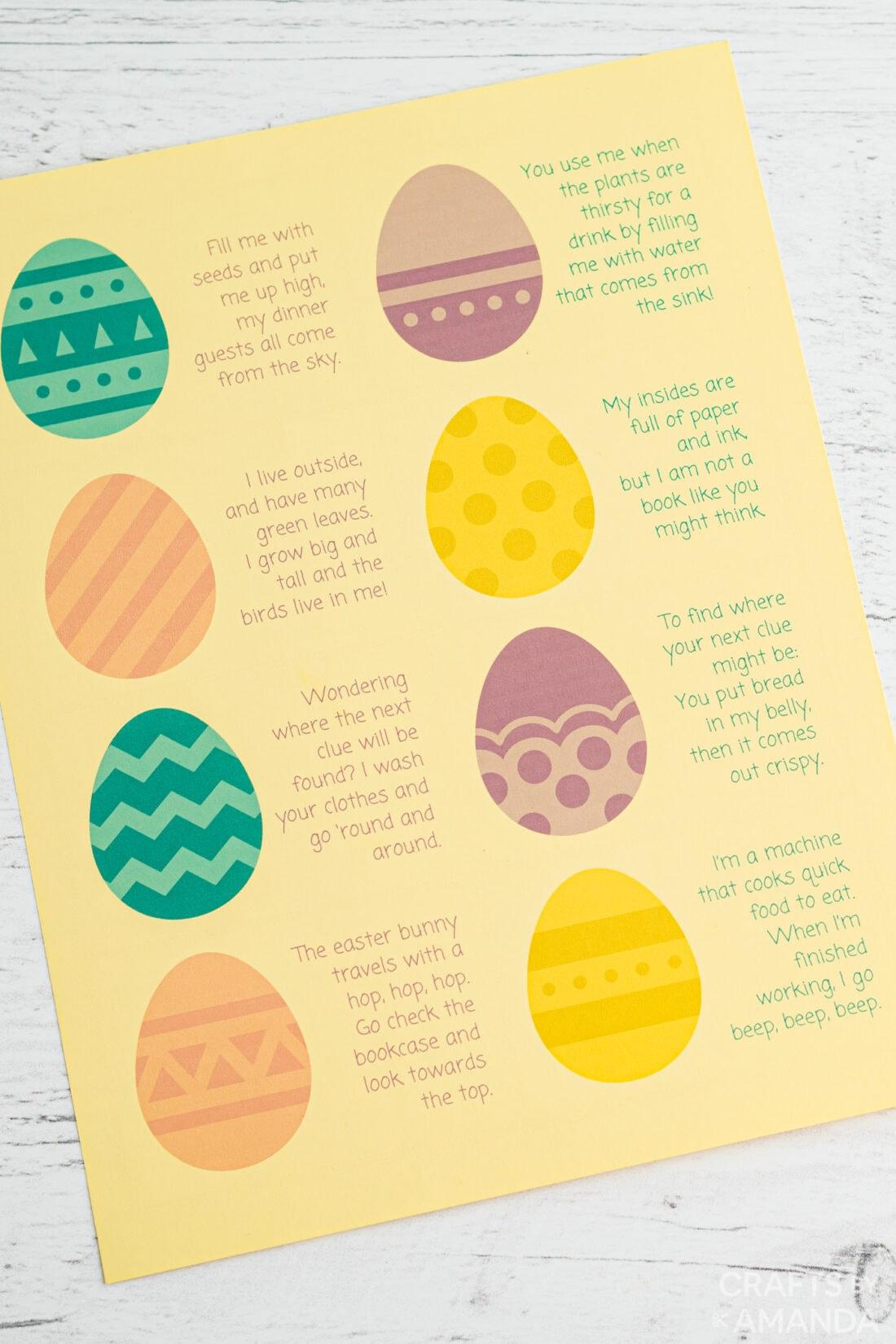 feuille imprimable pour la chasse au trésor de pâques