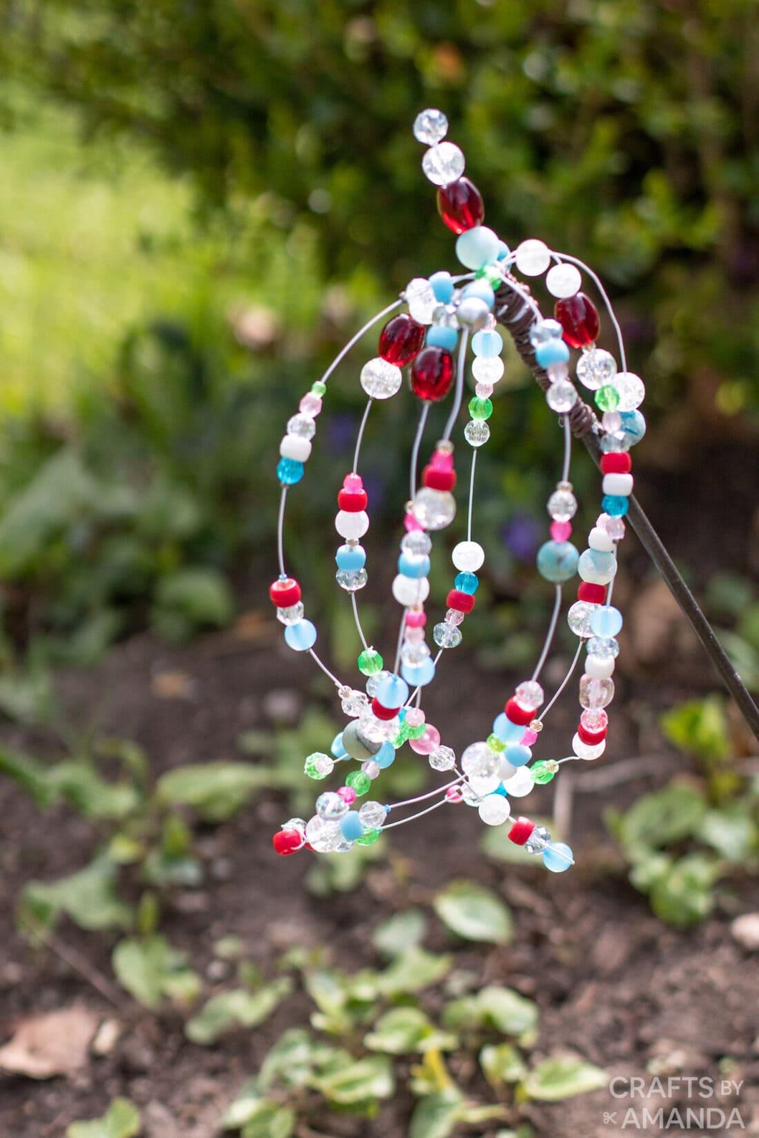 Beaded Garden Sparkler in yard