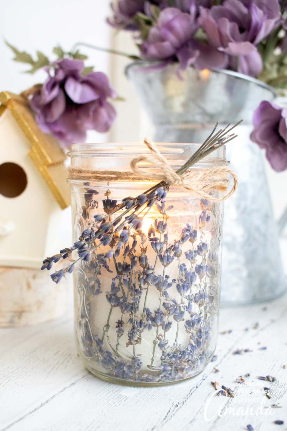 lavender candle in a jar
