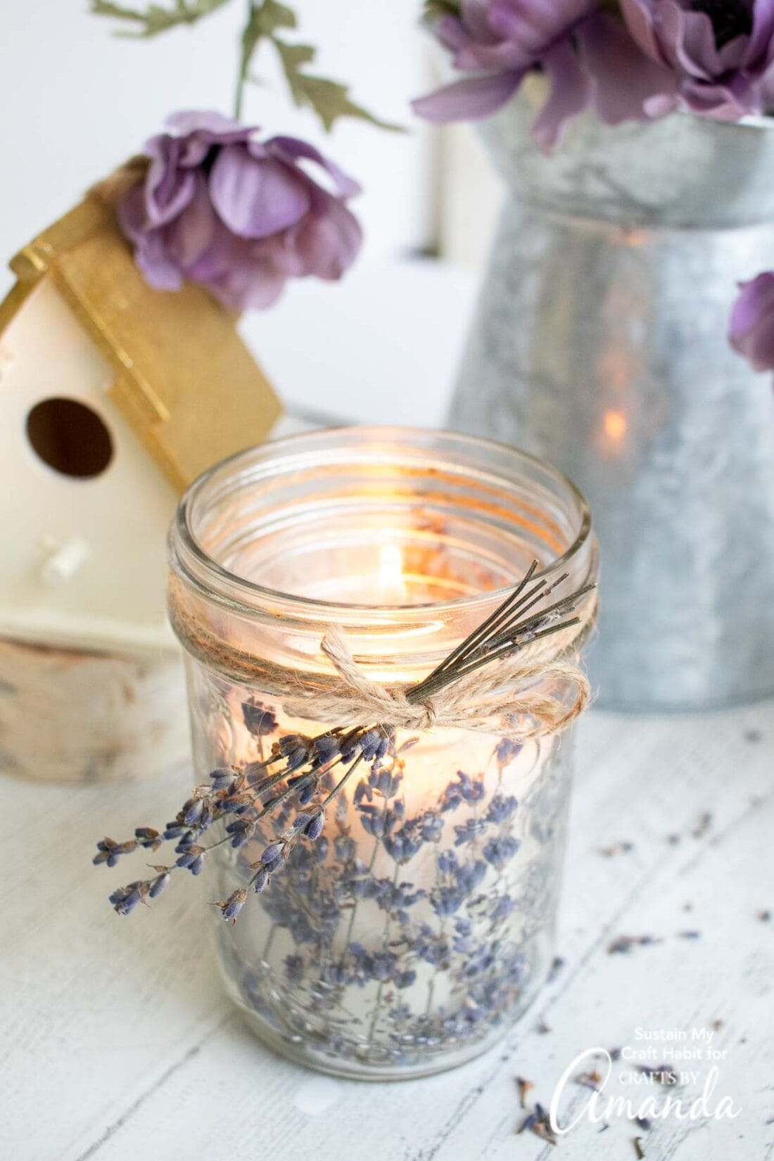 lit lavender candle