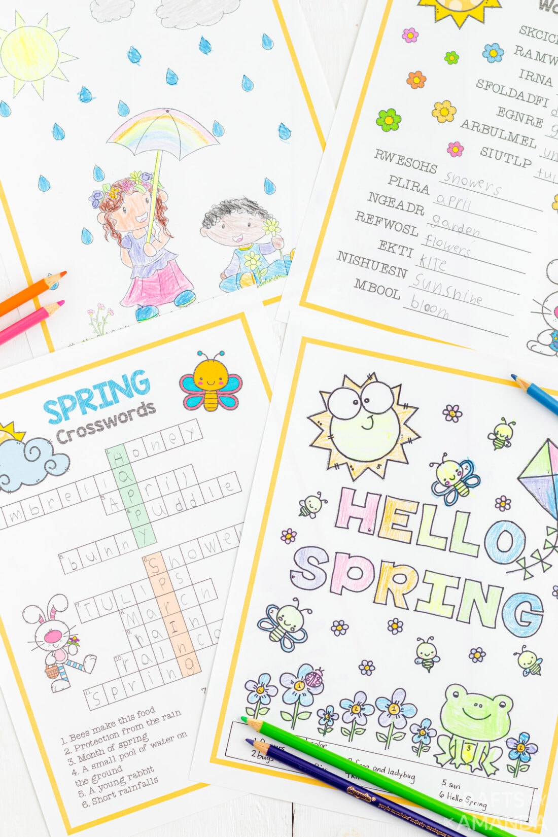 Spring Activity Sheets and Coloring Pages