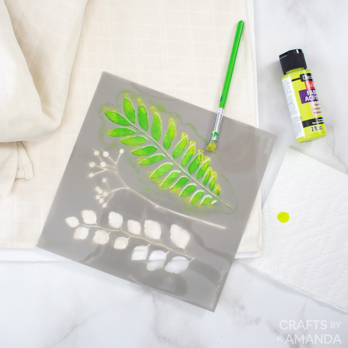 bright green paint on stencil