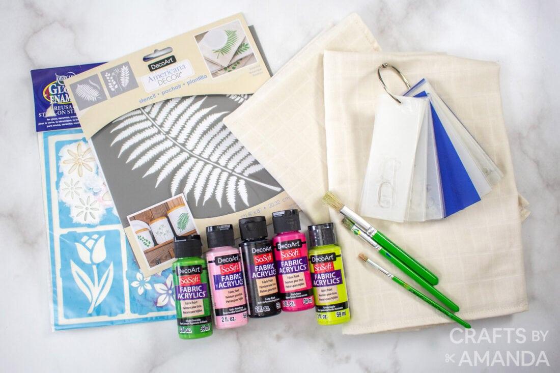 crafts supplies for DIY Tea Towels