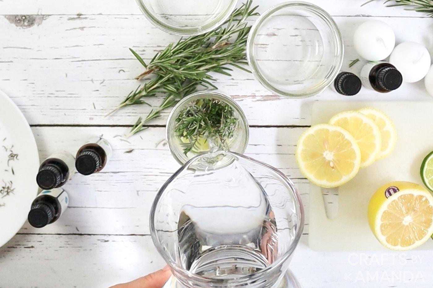 filling mason jar with water