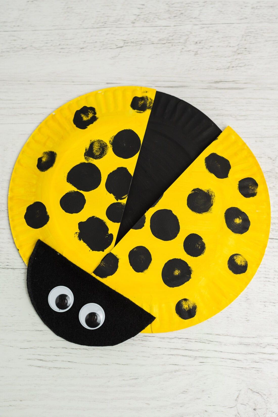 yellow paper plate ladybug
