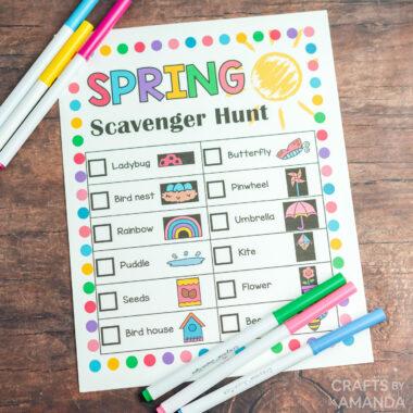 spring scavenger hunt sheet