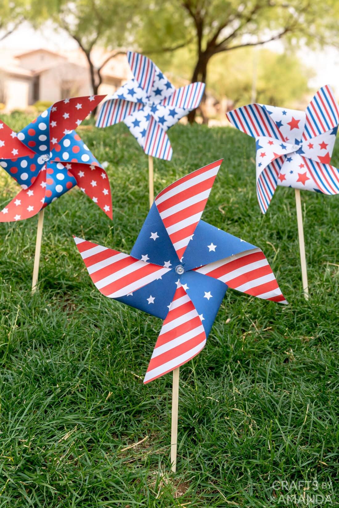 patriotic pinwheels in the grass