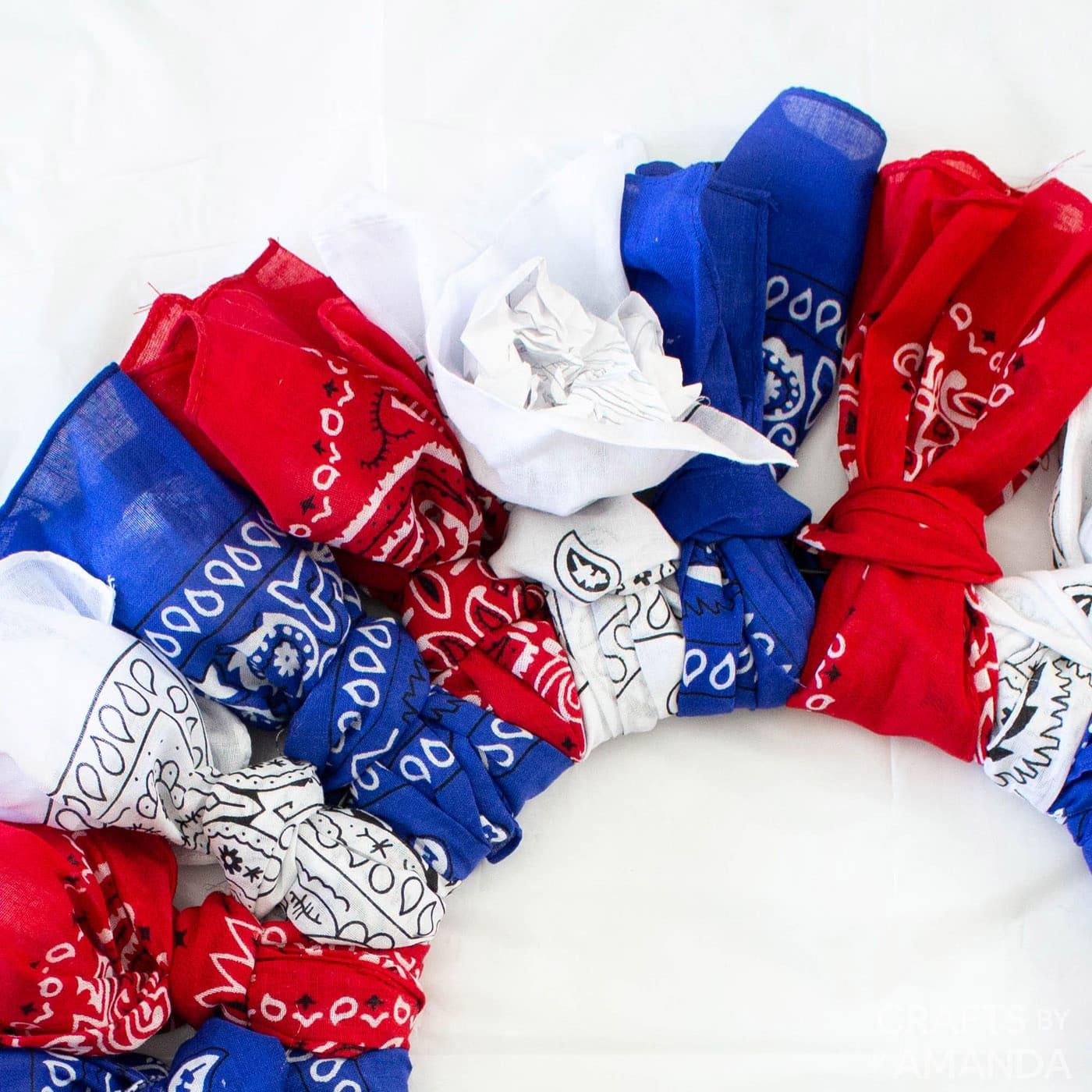 crumpled paper inside bandana wreath