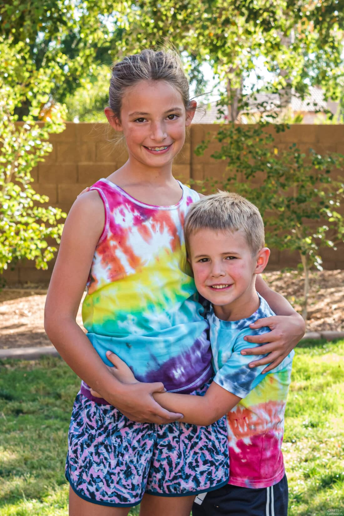 kids wearing tie dye shirts