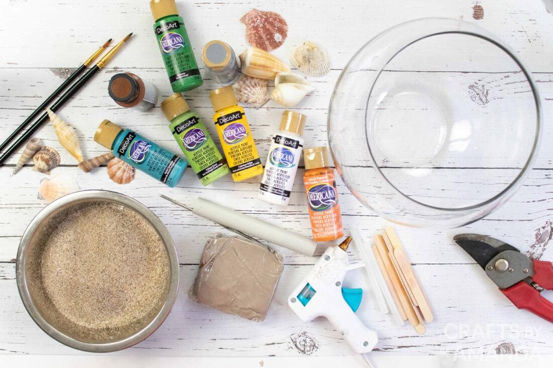 supplies you need to make mini coastal clay houses
