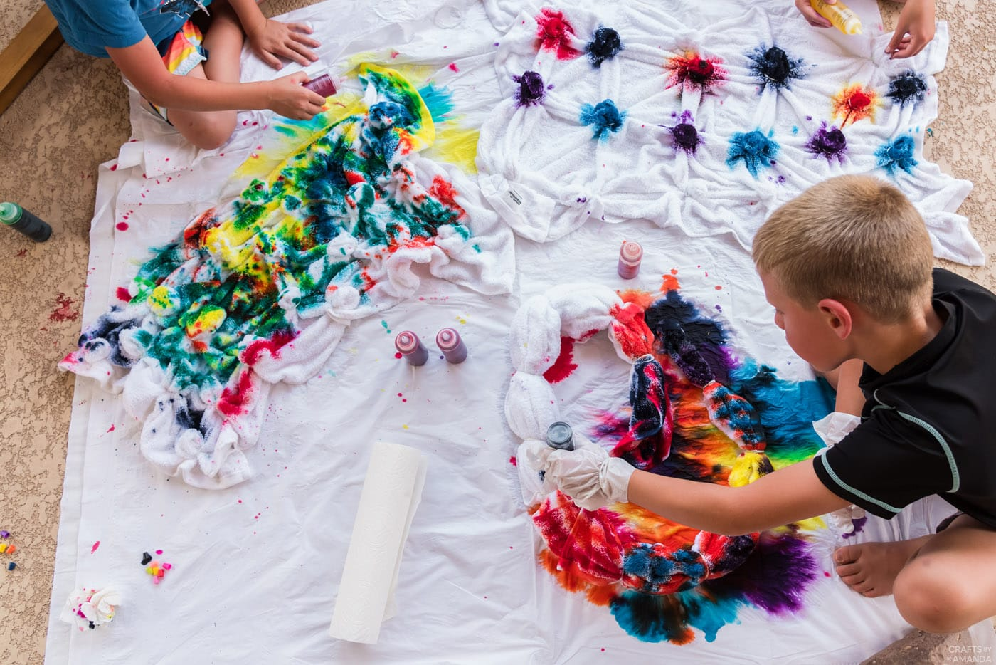 tie dying beach towels