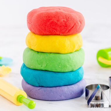 stack of colorful homemade play dough