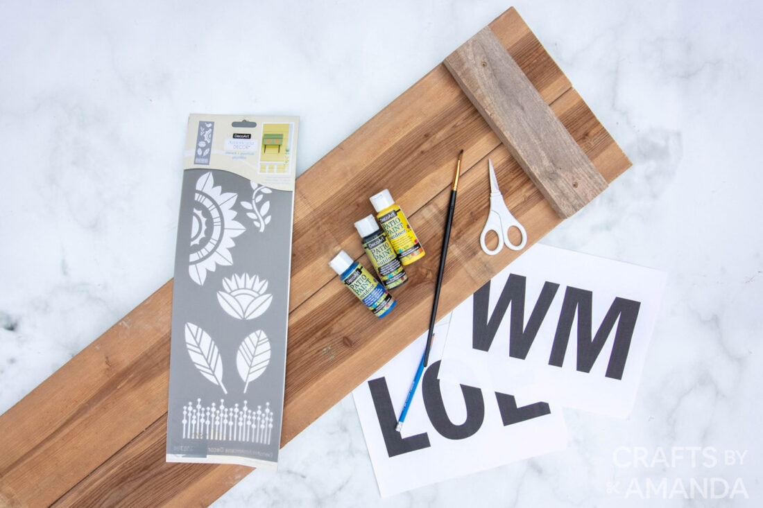 supplies needed to make Sunflower Welcome Sign