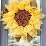 sunflower wreath on the front door
