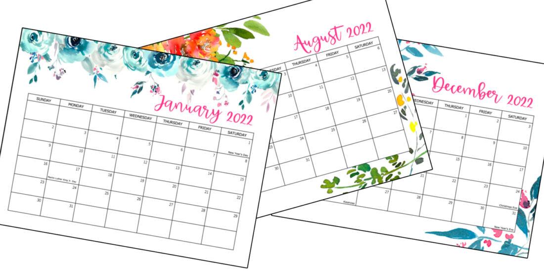 3 kalenderpagina's voor 2022