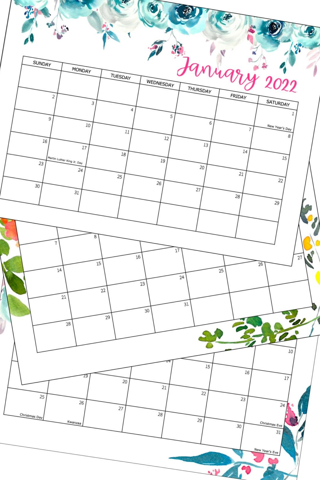 3 pages de calendrier